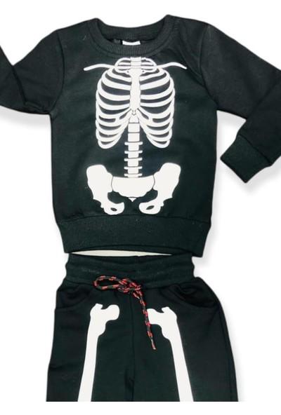 Riccotarz Erkek Çocuk Iskelet Baskılı Siyah Eşofman Takım
