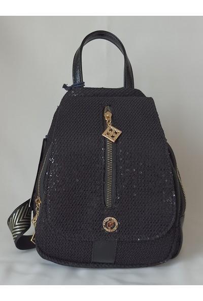 Harvey Miller Polo Club Siyah Pul Detaylı Kadın Sırt Çantası - HM4822