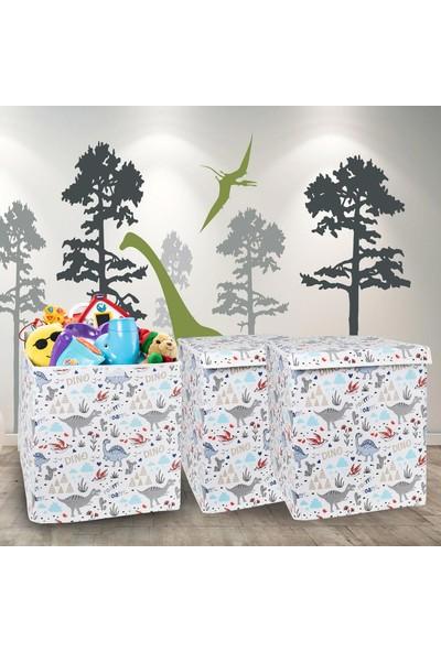Lumier 3 Adet Büyük Boy Kapaklı Oyuncak Çamaşır Eşya Kıyafet Saklama Kutusu Seti 45 x 40 cm