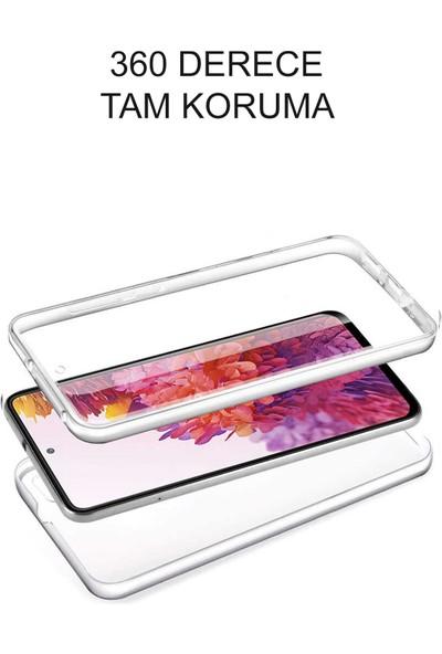 Kzy Samsung Galaxy M12 Kapak 360 Derece Ön ve Arka Tam Koruma Şeffaf Silikon Kılıf