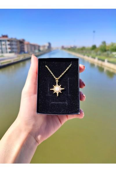 Aurora Altın Kaplama Opal Taşlı Güneş Gold Kadın Kolye