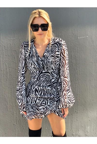 Suba Butik Zebra Desen Balon Kol Düğmeli Büzgü Detaylı Şifon Elbise