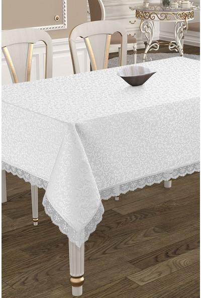 Köşem Çeyiz Kdk Kumaş Leke Tutmaz Dertsiz Masa Örtüsü 160X220 cm Beyaz
