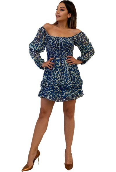 Sevenday Fashion Kadın Renkli Şifon Elbise