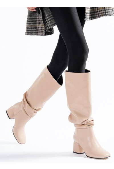 Silverstone Shoes Kadın Ten Körüklü Çizme