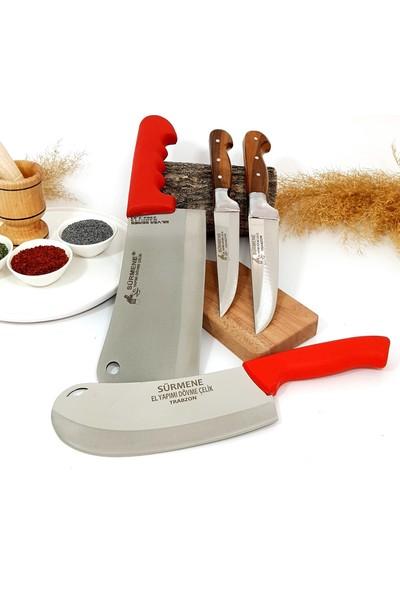 Sürmene Kemik Satırı Zırh Pide Kesici Mutfak Bıçağı 4'lü Set