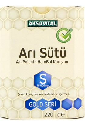 Aksuvital Arı Sütü Bal Polen (S) 18.000 Mg Yetişkin 220 gr