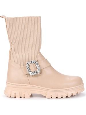 Woggo Flrn 1925 Cilt Taşlı Bağcıklı Kadın Bot Ayakkabı Ten