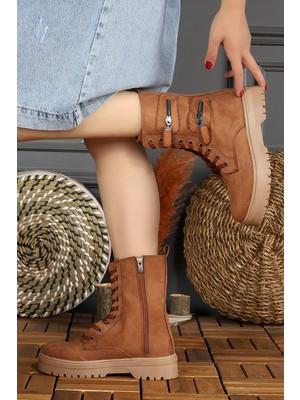 Woggo 57 Süet Bağcıklı Fermuarlı Termo Taban Kadın Bot Ayakkabı Taba