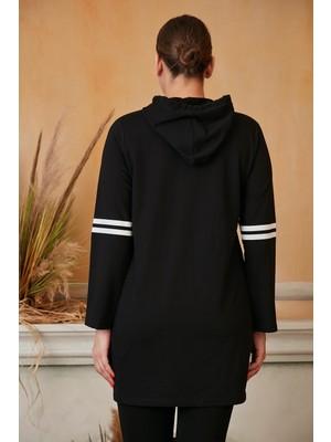 Rmg Kol Şerit Detaylı Büyük Beden Siyah Tunik Sweatshirt