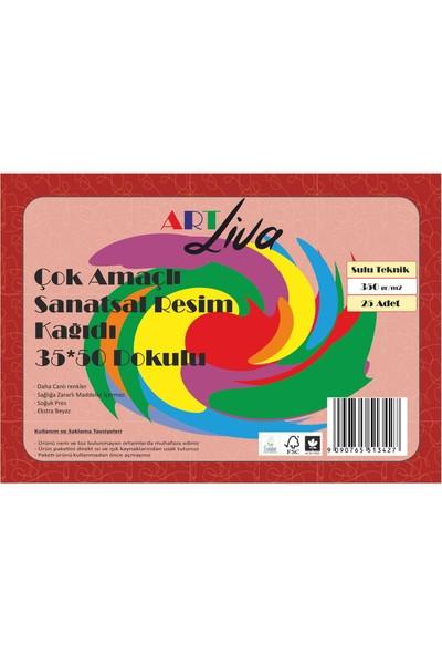 Art Liva Dokulu Sulu Teknik Sanatsal Resim Kağıdı 35 x 50 cm 350 Gram 25 Yaprak