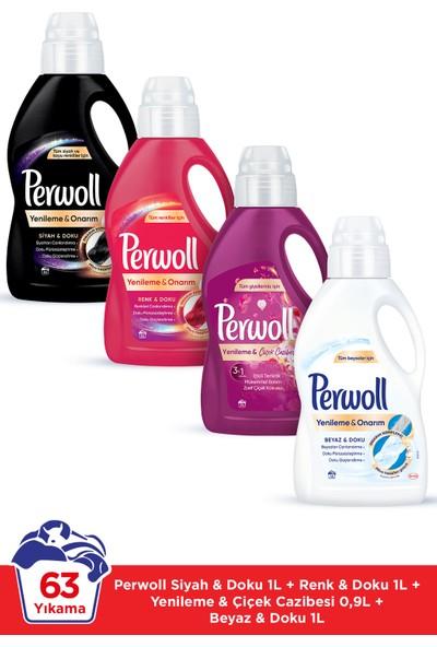 Perwoll Hassas Bakım Sıvı Çamaşır Deterjanı 4 x 1L (63 Yıkama) Siyahlar + Renkliler + Beyazlar + Çiçek Cazibesi