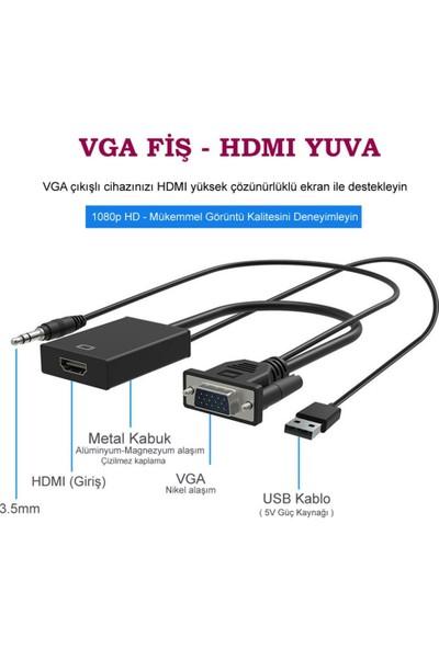 Concord VGA to HDMI Dönüştürücü 3.5mm Aux Kablo (48cm) + Micro USB Kablo (50cm)