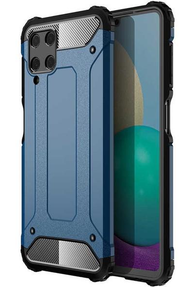 CoverZone Galaxy M32 Kılıf Kılıf Shockproof Slikon Zırh Mavi