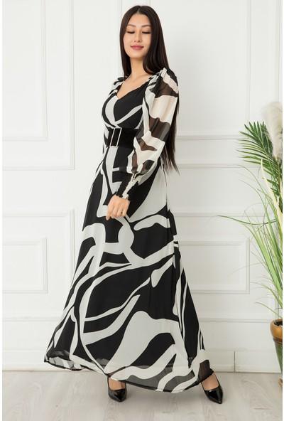 Bayan Puanlı Kemerli Şifon Elbise 9009