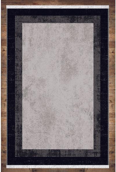 Karnaval Home Siyah Gri Bordürlü Desenli Yıkanabilir Kaymaz Salon Halısı Dekoratif Kilim ARM-1250
