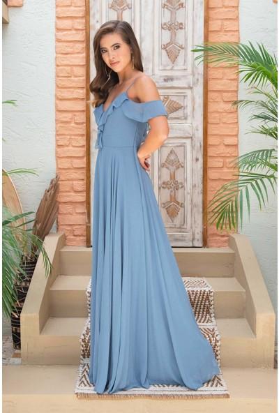 Carmen Indigo Şifon Göğsü Volanlı Uzun Abiye Elbise