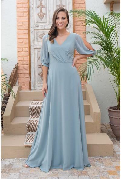 Carmen Çağla Şifon Karpuz Kol V Yaka Uzun Abiye Elbise