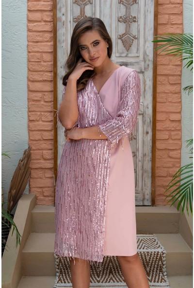 Carmen Pudra Saçaklı Payet Dekolteli Kısa Abiye Elbise