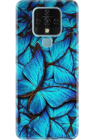Tecno Techo Camon 16 Kılıf Resimli Desenli Baskılı Silikon Kılıf Blue Butterflys 1350