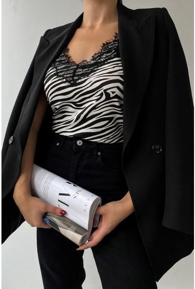 Eka Kadın Siyah Beyaz Zebra Ip Askılı Dantel Detaylı Bluz 0955-5008