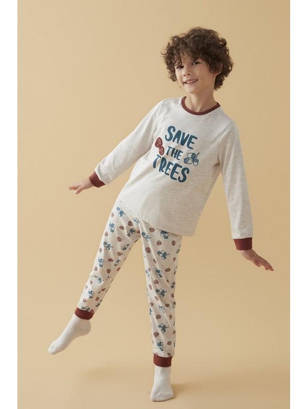 Penti Bej Melanj Erkek Çocuk Trees 2li Pijama Takımı