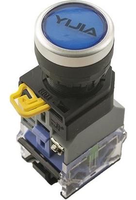 Yijia Anlık Push Buton 6V Mavi Işıklı YJ139-LA38