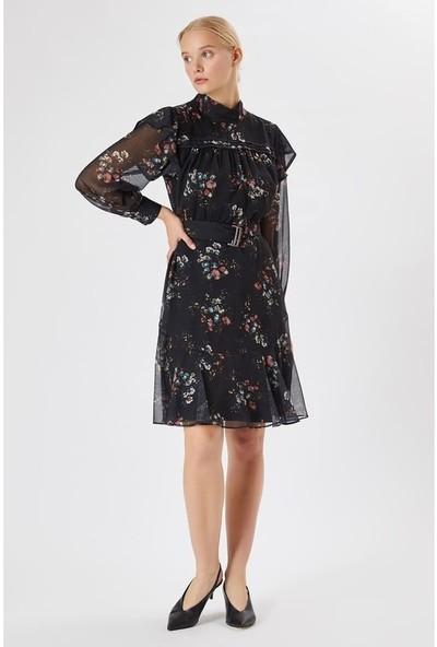 Fever Kadın Çiçek Desenli Şifon Elbise