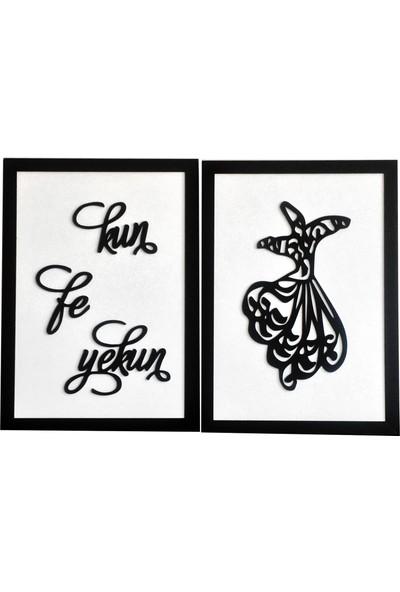 St Design Kun Fe Yekun Semazen Tablo Seti Beyaz Siyah Mdf