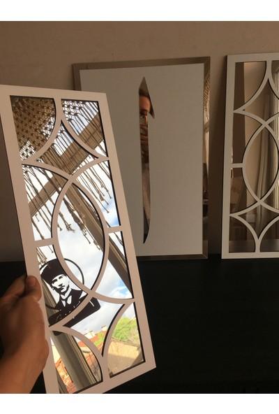 St Design Elif Motifli Tablo Seti Beyaz Gümüş