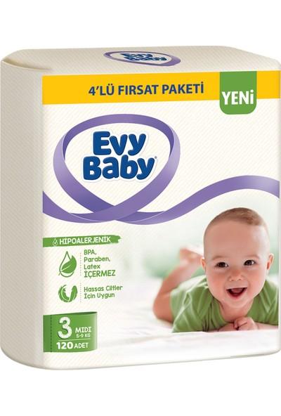 Evy Baby Bebek Bezi 3 Beden Midi 4'lü Fırsat Paketi 120 Adet (YENİ)
