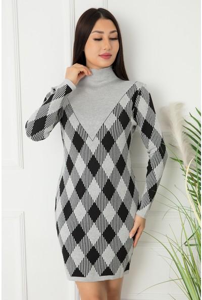 Kalopya Bayan Balıkçı Baklava Desen Triko Elbise 0681