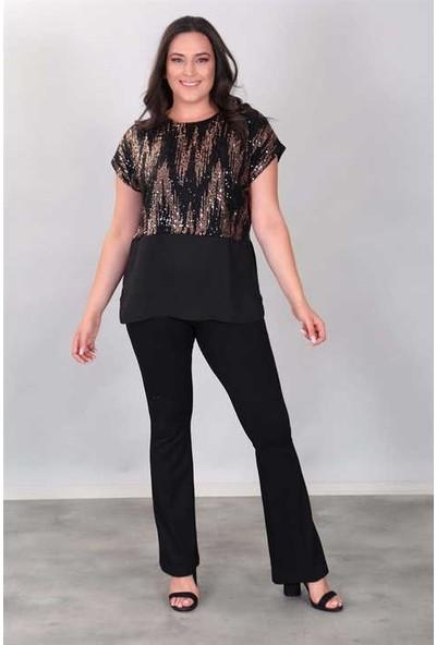 Fahrettin Moda 201398 Siyah Gold Ön Payet Allerli Yarasa Kol Bluz