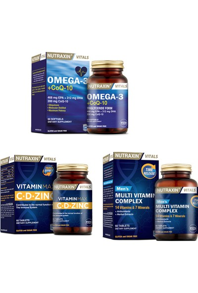 Nutraxin Omega 3 +Coq-10 (Koenzim) 60 Kapsül + Vitamin Max (C,d,zinc)60 Tablet +Men's Multivitamin 60 Tablet