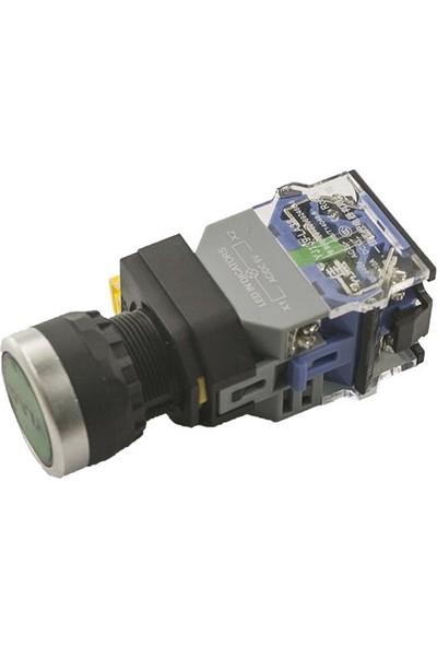 Yijia Anahtarlı Push Buton 6V Yeşil Işıklı YJ139-LA38