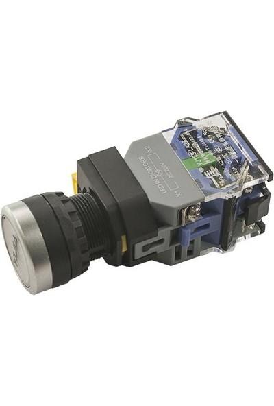 Yijia Anahtarlı Push Buton 220V Beyaz Işıklı YJ139-LA38