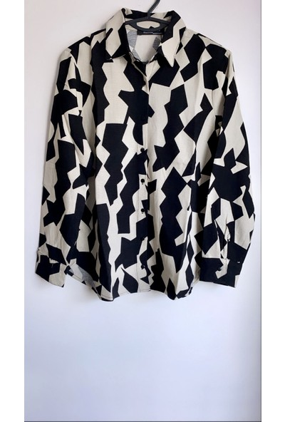 Enie Kadın Krem - Siyah Keten Gömlek