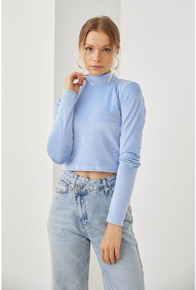 Lime Moda Dik Yaka Kadife Bluz-Bebemavi