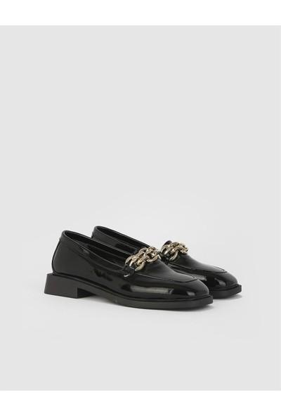İLVİ Foteini Rugan Deri Kadın Siyah Loafer Ayakkabı