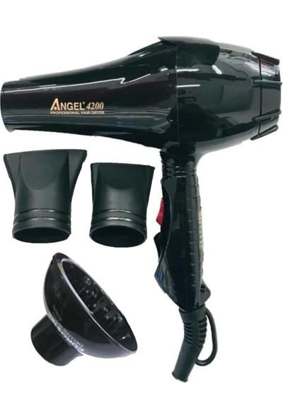 Angel 4200 Profesyonel 2500 Watt Saç Kurutma Fön Makinesi + Vakumlu Vigo - Siyah