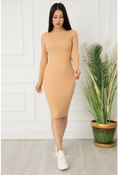 Kalopya Bayan Kol Düğmeli Triko Elbise 0876