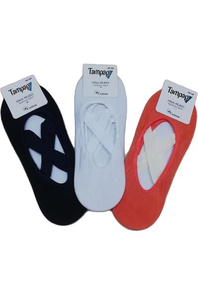 Tampap Kadın Pilates Çorabı Kaydırmaz 3lü Paket Tampap