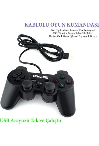Concord Titreşimli USB Kablolu Joystick Gamepad Oyun Kolu Pc Bilgisayar Laptop Uyumlu