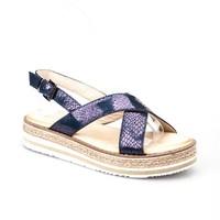 Cabani Kadın Sandalet Lacivert Croco Deri