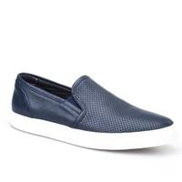 Cabani Lazerli Sneaker Erkek Ayakkabı Lacivert Kırma Deri