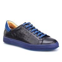 Cabani Bağcıklı Spor Erkek Ayakkabı Siyah Kırma Deri