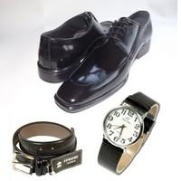 Klasik Erkek Kundura Ayakkabı + Kemer + Kol Saati