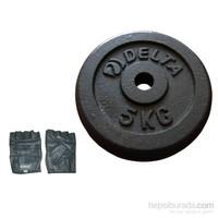 Delta 5 Kg * 4 Siyah Döküm Plaka & Deri Fitness Eldiveni Seti - Fm 15