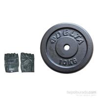 Delta 10 Kg * 2 Siyah Döküm Plaka & Deri Fitness Eldiveni Seti - Gc 15