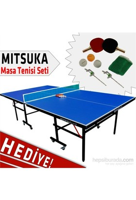 Mitsuka Play-B Mavi Masa Tenis Masası -2 raket + 3 Top ve Ağ Set HEDİYE!